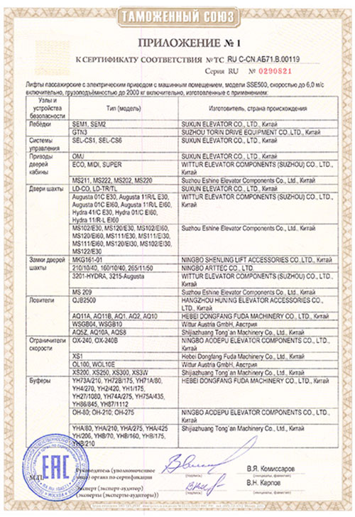Suxun Elevator Co.,Ltd.(RU С-CN.АБ71.В.00119)